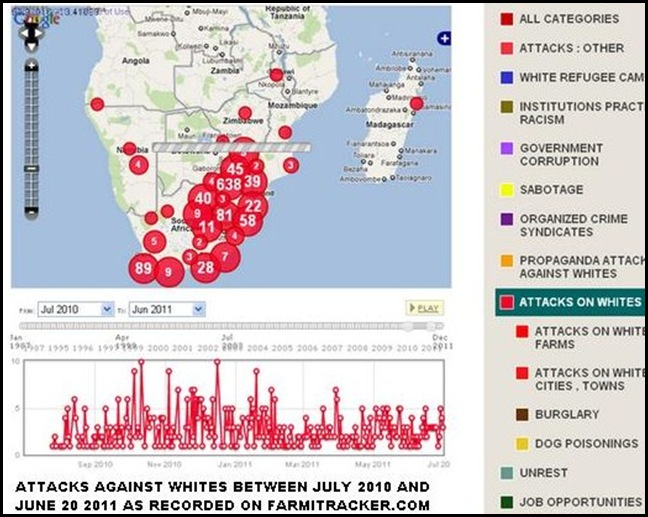 FARMITRACKER JULY 2010 TO JULY202011 ATTACKS AGAINST WHITES IN SA