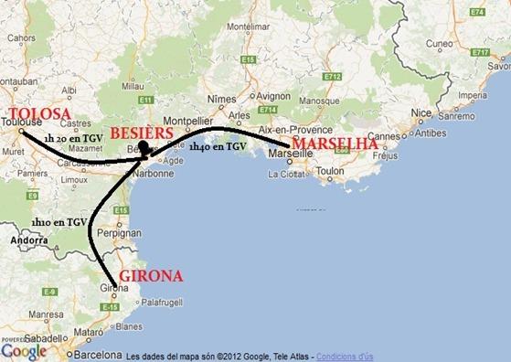 Mapa de la situacion de Besièrs oras en TGV