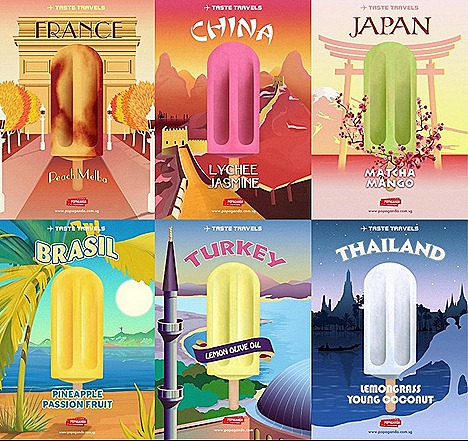 Popaganda fruit popsicles ice cream taste travel theme HERMES Gift of Time france peach Japan Matcha Mango China lychee jasmine Brazil Pineapple passion fruitTurkey lemon olive oil thailand lemon grass young coconut Tanjong Pagar