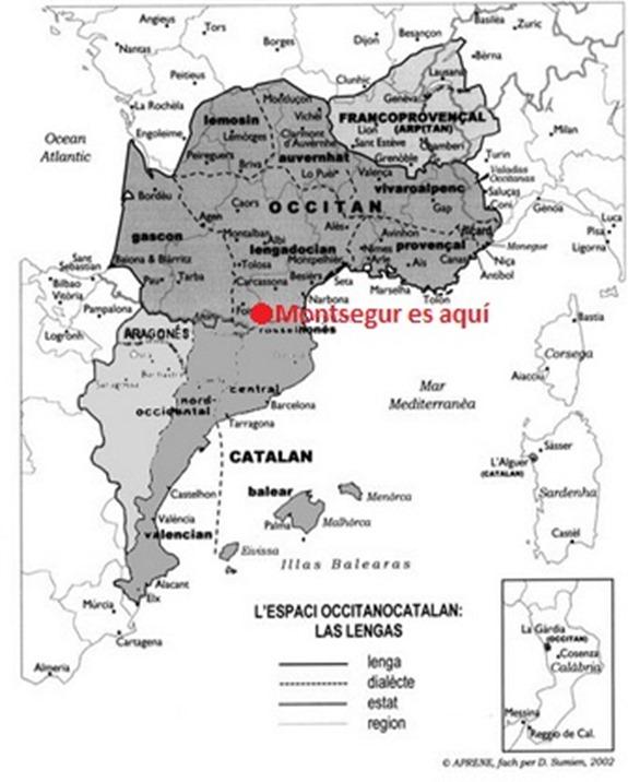 Mapa lingüistica de l'espaci europèu occitanò-catalan-aragonés e arpitan Montsegur es aquí