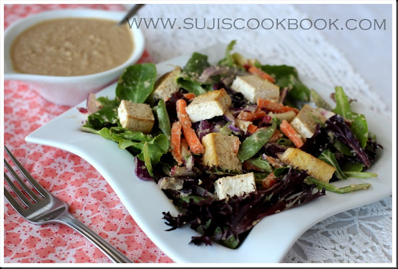Thai tofu salad with peanut dressing