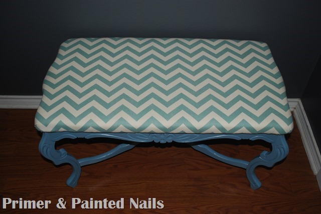 Curb Coffee Table After Chevron - Primer & Painted Nails