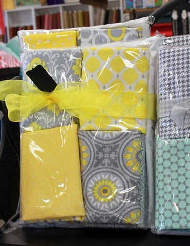 yellow and gray quilt kit