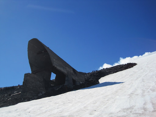Remnants of the upper part of a ski lift which was destroyed in the 1971 eruption.