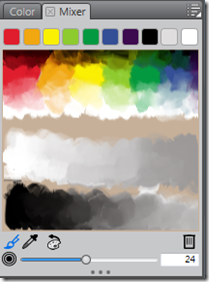 The Corel Painter Lite's Colour Mixer Palette