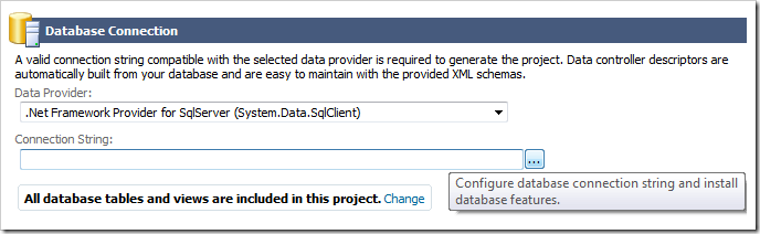 Button to activate the database connection string page.