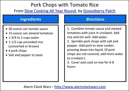 pork chops with tomato rice recipe card