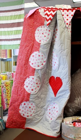 valentine quilt - gray, red, pink and white