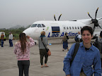 About to board the Lao Airlines flight back to Bangkok