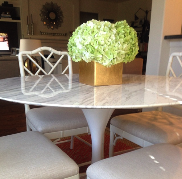 Paloma Contreras Design | Tulip Table, Bamboo Chairs, Hydrangeas, Gold