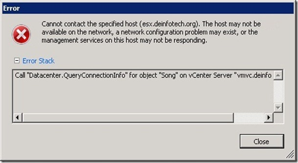 Cannot contact the specified host ESXi 5
