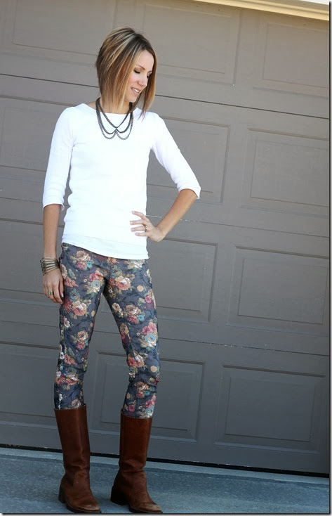 Floral jeans and tall boots