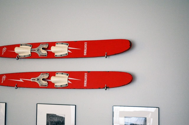 water skis wall art