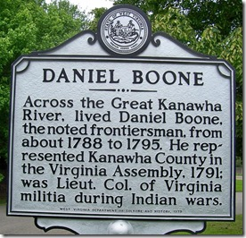 Daniel Boone marker, Kanawha County, WV (Click any photo to enlarge)