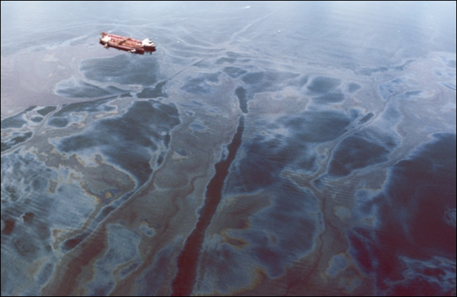 Aerial view of the Exxon Valdez and the oil spill in 1989.