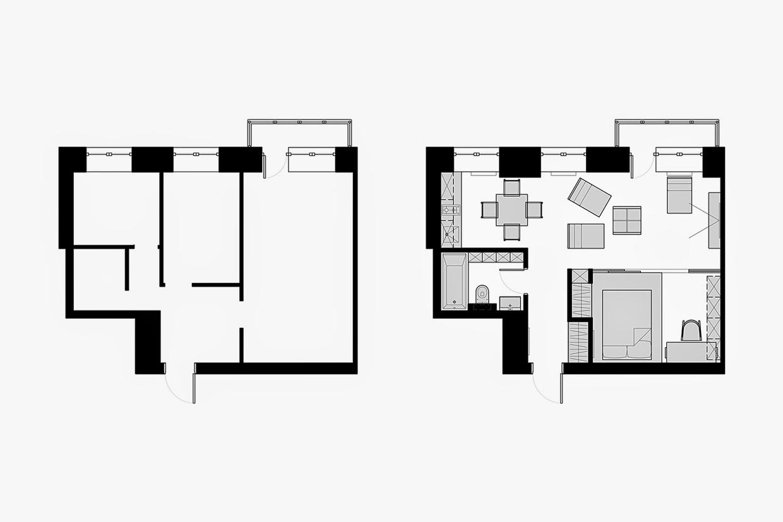 căn hộ hẹp 38m2