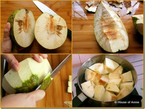 Cutting Skinning and Boiling Breadfruit