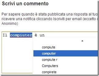 Chrome suggerimenti correttore ortografico