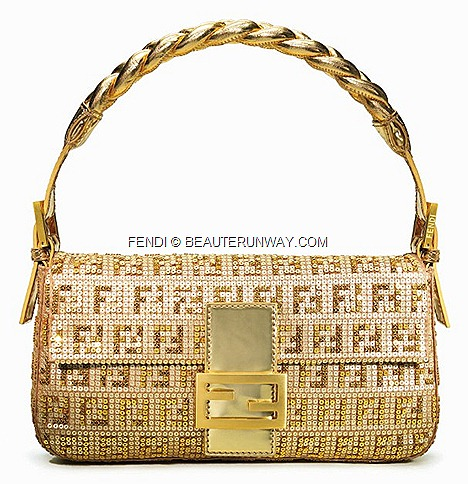 FENDI GOLD BAGUETTE BAG braided iconic designs double FF sequins double F gold matt leather clasp calf skin, pony hair, sequins, beads, colours, braided pleat gold handle Cover BOOK