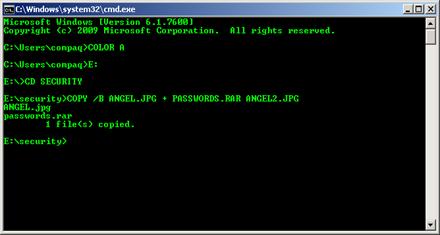 Hide file via CMD and WinRAR 2