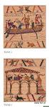 Fragmenty słynnego gobelinu, prezentującego historię podboju Brytanii w XI wieku – wycinek słynnego gobelinu królowej Matyldy, żony Wilhelma Zdobywcy – księcia Normandii.