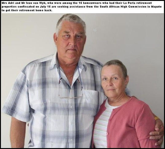 Van Wyk couple lost their La Perla Mozambique Retirement home to the Mozambiqan state
