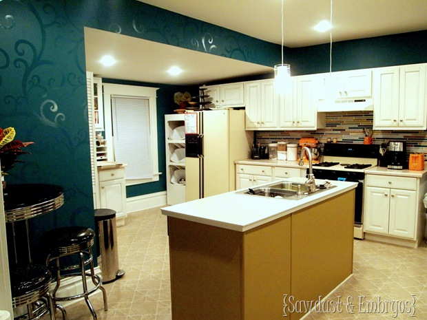 Kitchen with Glossy Swirls and Painted Backsplash {Sawdust and Embryos}