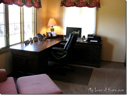 Brown Desk, Home Office, Red Curtains, gold walls