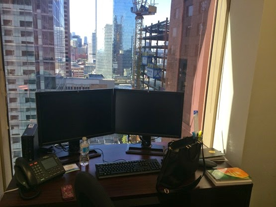 Desk with city view