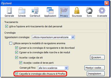 Cancellare la cronologia internet alla chiusura di Firefox