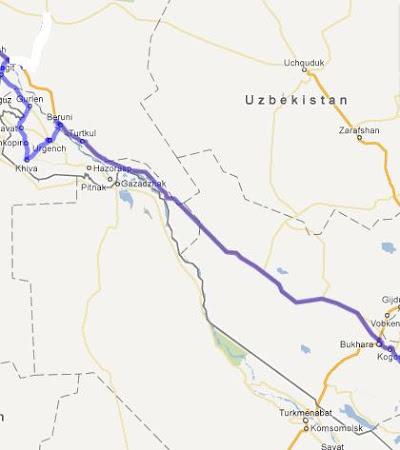 Traseul prin Uzbekistan