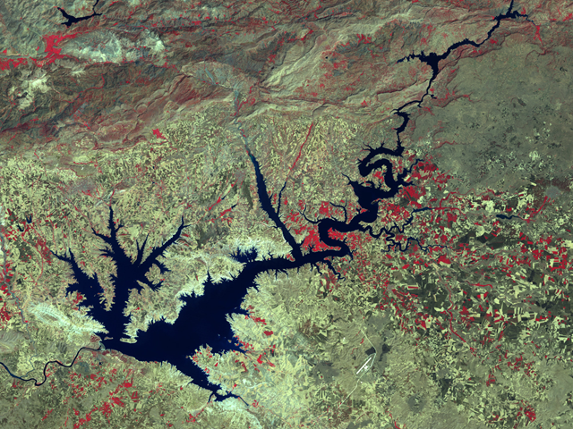 Turkey's Ataturk Dam was completed in 1990. It is the largest of a series of dams along the two major rivers of the region, the Tigris and Euphrates, which both have their headwaters in southeastern Turkey. Landsat 7 ETM+ image provided courtesy of USDA Foreign Agricultural Service Production Estimates and Crop Assessment Division (PECAD)