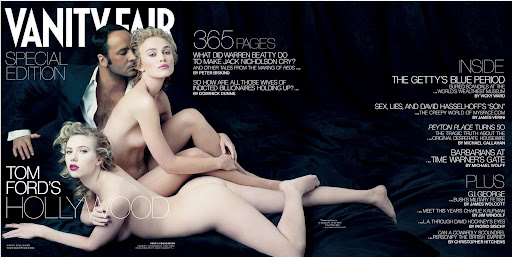 This photo supplied by Vanity Fair shows Scarlett Johansson, foreground, and Keira Knightley posed nude for the fold-out cover of Vanity Fair magazine''s yearly Hollywood issue, to be released Wednesday, Feb. 8, 2006. Fashion superstar Tom Ford also appears on the cover photo by Annie Leibovitz shot exclusively for Vanity Fair.(AP Photo/Annie Leibovitz exclusively for Vanity Fair) PEOPLE VANITY FAIR NUDES
