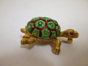 18KT and Ruby Vintage Turtle Brooch