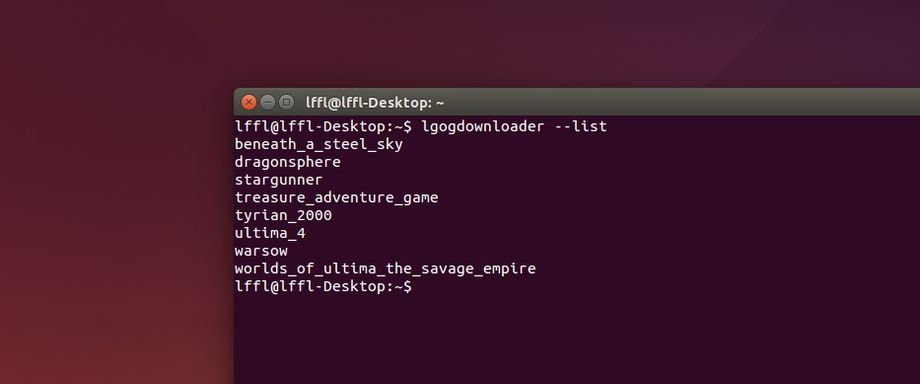 LGOGDownloader in Ubuntu
