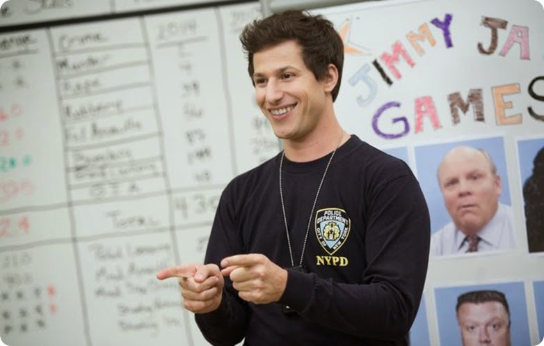 "BROOKLYN NINE-NINE: Jake (Andy Samberg) participates in a competition with the rest of his staff while the Captain is out in the ""Jimmy Jab Games"" episode of BROOKLYN NINE-NINE airing Sunday, Oct. 12 (8:30 - 9:00) PM ET/PT) on FOX. ©2014 Fox Braodcasting Co. CR: Eddy Chen/FOX"