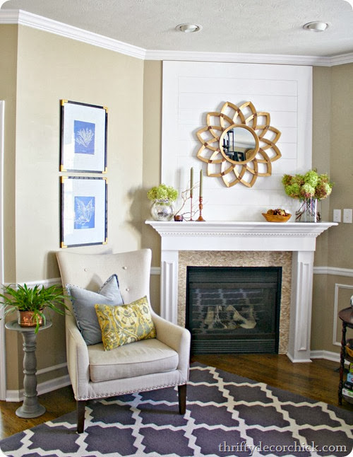 Natural fall mantel in family room