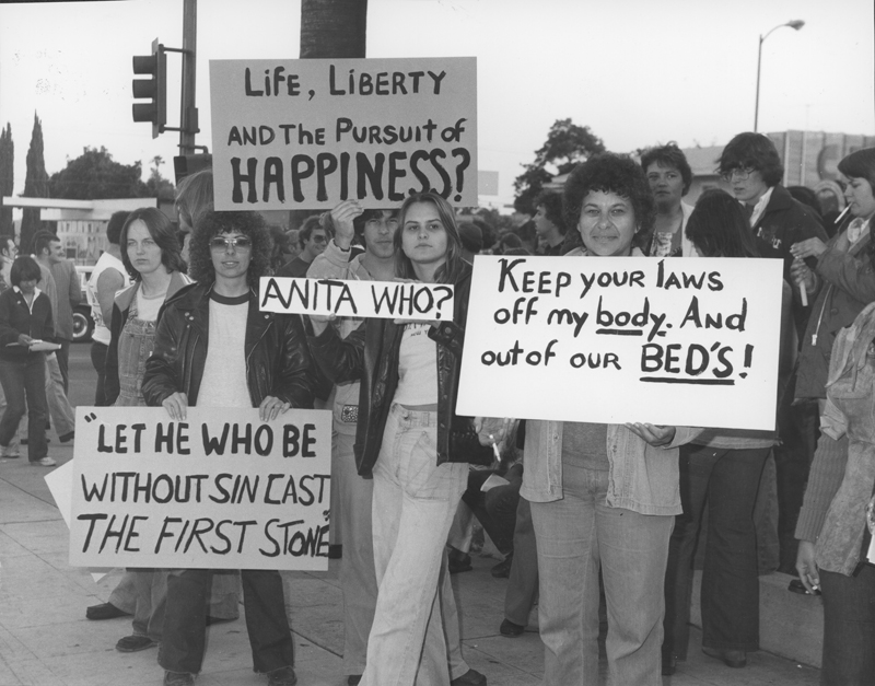 Protesters gathers at the Stop Anita Demonstration at Hollywood High School. June 13, 1977.