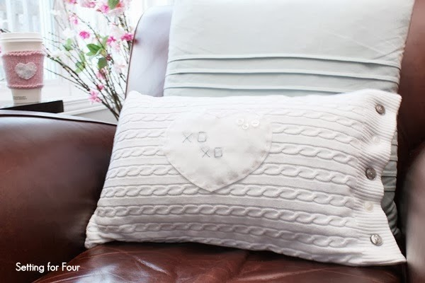 Make a DIY Button Heart Sweater Pillow