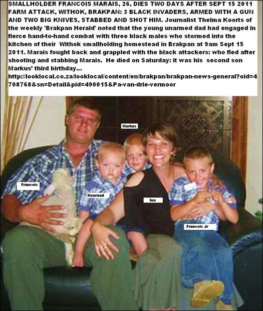 MARAIS Francois dead farm attack Sept2011 wife Ina sons Konrad LAP Markus m Francois