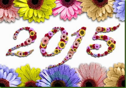 2015 Flowers On Rame Made Of Colorful Daisies On Wood Background