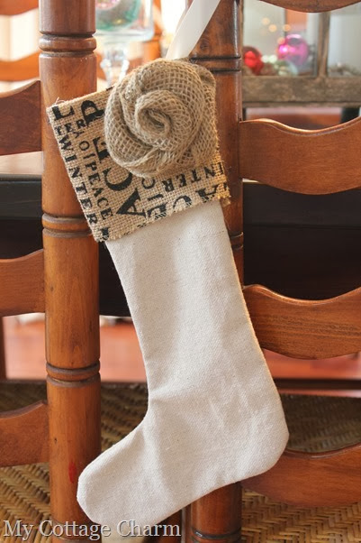 burlap Christmas stocking (2)