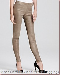 Vince Metallic Suede Stretch Leggings