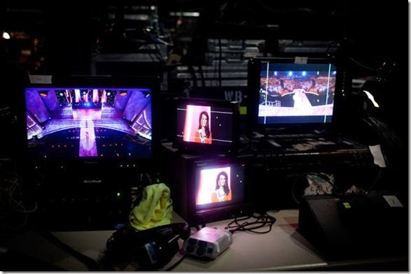 Cameras backstage at the pageant.