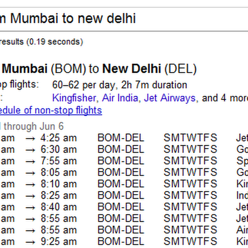 Get Flight Schedules on Google Search