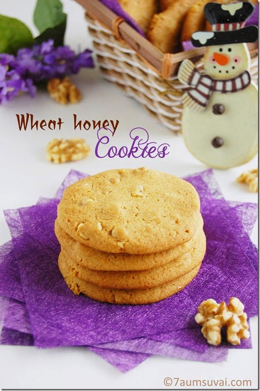 Eggless wheat honey cookies