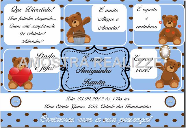 Convite Urso marrom e azul
