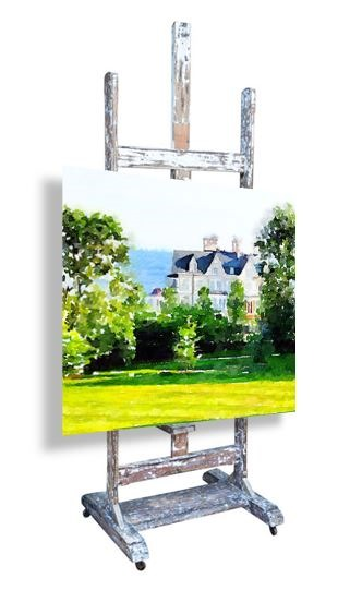 Slim Paley, Original Photograph, Waterlogue, 19th c. French Artist Atelier Easel