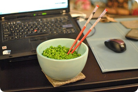 eating peas with chopsticks