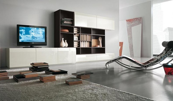 Mueble de TV marrón y blanco